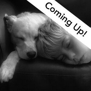"Image advertising the iPhonography studio demo. Black and white photo with ""coming up"" text on it."